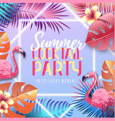 Summer cocktail typography poster with flamingo vector