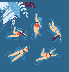 swimsuit swimming relaxing water woman leisure vector image