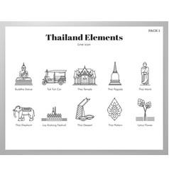 Thailand elements line pack vector