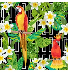 Tropical Flowers and Birds Geometric Background vector