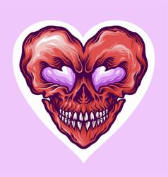 valentine skull love day vector image