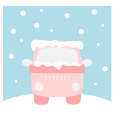 Van covered with snow - winter flat icon setxa vector