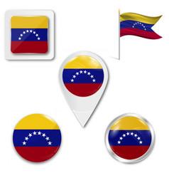 Venezuela flag glossy button vector