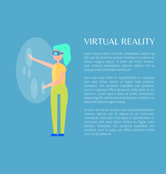 Virtual reality and woman in special tech glasses vector
