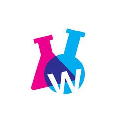 W letter lab laboratory glassware beaker logo icon vector