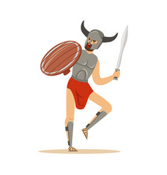 warrior character man in horned helmet running vector image