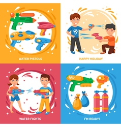 Water Pistols Concept Icons Set vector