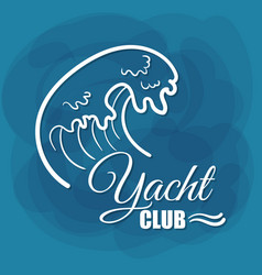White lettering yacht club wave vector