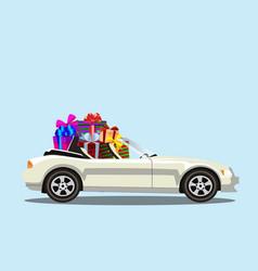 white modern cartoon cabriolet car full of gift vector image