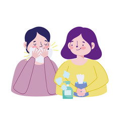 Woman man with cold tissues box and soap bottle vector