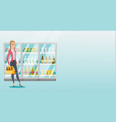 Woman with pack of beer at supermarket vector