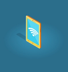 Yellow smart phone wi-fi connection flat style vector