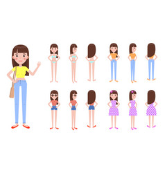 Young girl with spare casual summer outfits set vector