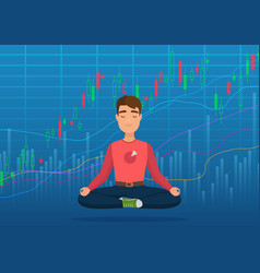 young happy man trader meditating under crypto or vector image