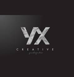 Yx y x letter logo with zebra lines texture vector