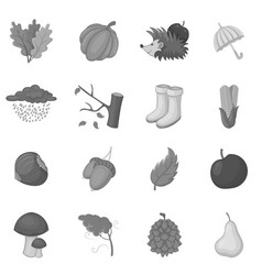 autumn items icons set monochrome vector image