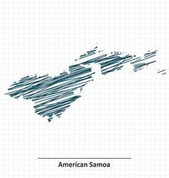 Doodle sketch of American Samoa map vector image vector image
