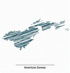 Doodle sketch of American Samoa map vector image