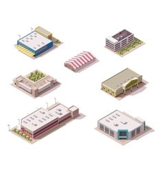isometric stores set vector image vector image