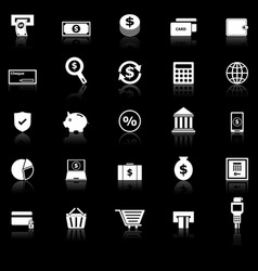 payment icons with reflect on black background vector image vector image
