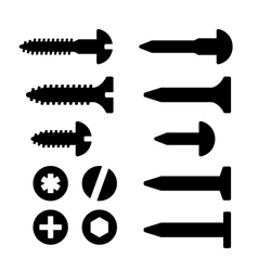 Screws nuts and nails icons set vector image