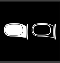 back side mirror icon set white color flat style vector image