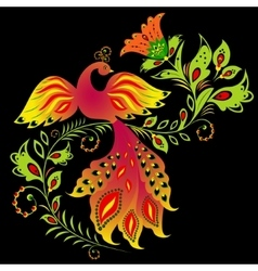 Colorful bird and flower vector image vector image