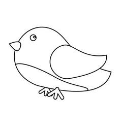 cute bird heart loveling line vector image