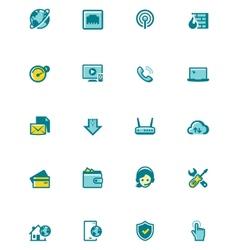 internet service provider icon set vector image vector image