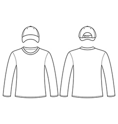 Long-sleeved t-shirt and cap template vector