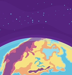 Cartoon cosmic background with Earth Planet in vector image