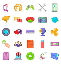 computer application icons set cartoon style vector image vector image