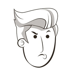 Face of angry man icon vector
