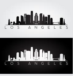 los angeles usa skyline and landmarks silhouette vector image vector image
