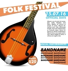 Mandolin festival poster battle live concert vector