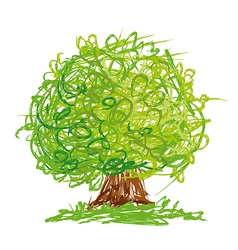 Tree with round crown drawn in quick sketchy style vector image vector image