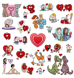 valentine cartoons set vector image vector image