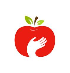 apple and hand logo label emblem design vector image vector image