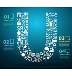 Application icons alphabet letters U design vector image vector image