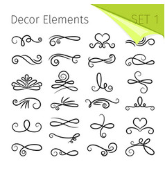 calligraphy scroll elements decorative retro vector image vector image