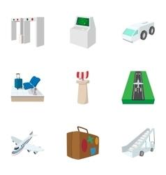 Flights icons set cartoon style vector image vector image