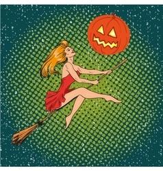Halloween concept poster in retro comic pop vector image vector image