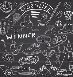Sport life sketch doodles elements Hand drawn set vector image