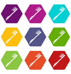 toothbrush with toothpaste icon set color vector image