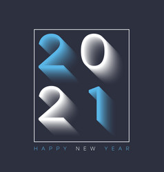 2021 new year card with shadow text vector