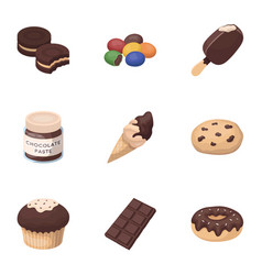 a set of chocolate sweets chocolate products for vector image