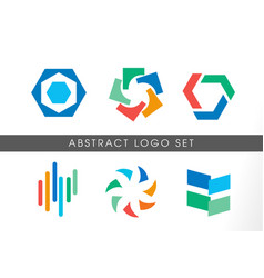 abstract colorful logo set vector image