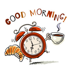 Alarm clock with cup of coffee and croissant vector