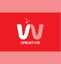 alphabet letter w red technology white logo vector image