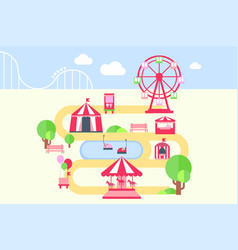 Amusement park map infographic elements vector